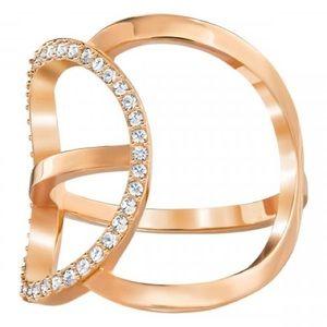NIB Swarovski Rose Gold Flash Ring With Crystals